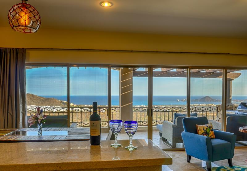 Take in the view while prepping some food and beverages