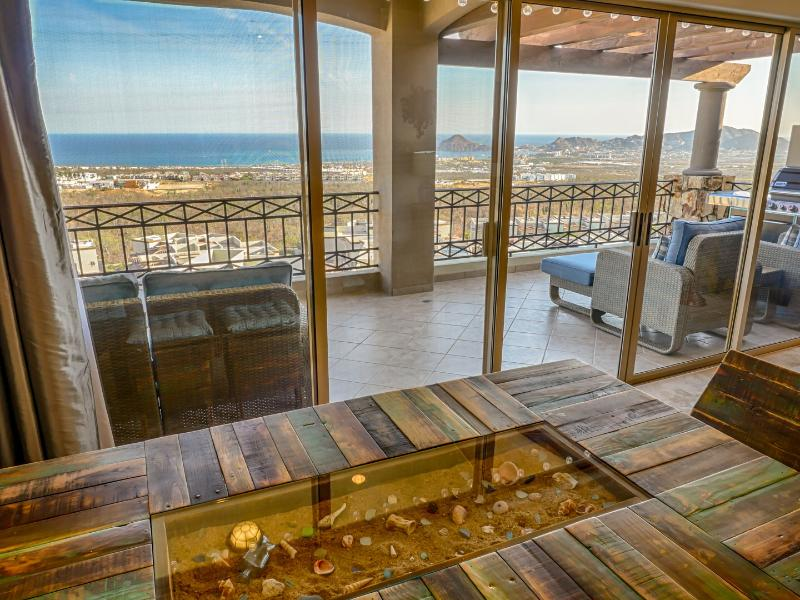 Dining table view. Table can also roll out onto lanai for outdoor dining