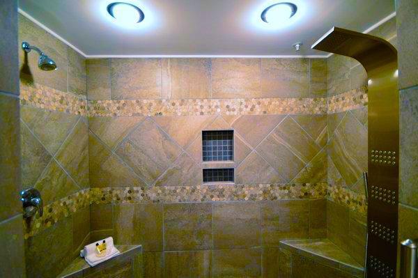 Custom Tile Walk-in Spa Shower