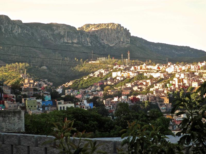 View of La Bufa and Guanajuato from roof terrace.