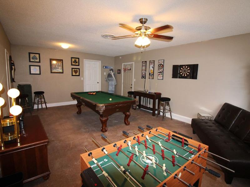 Game Cave: Pool table, big screen tv, foosball table and darts