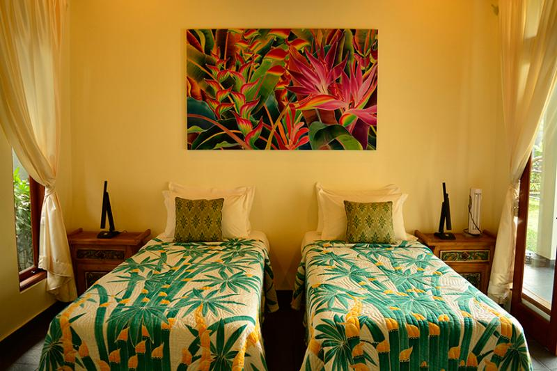 The second bedroom has 2 single beds that can be made up as a king sized bed.