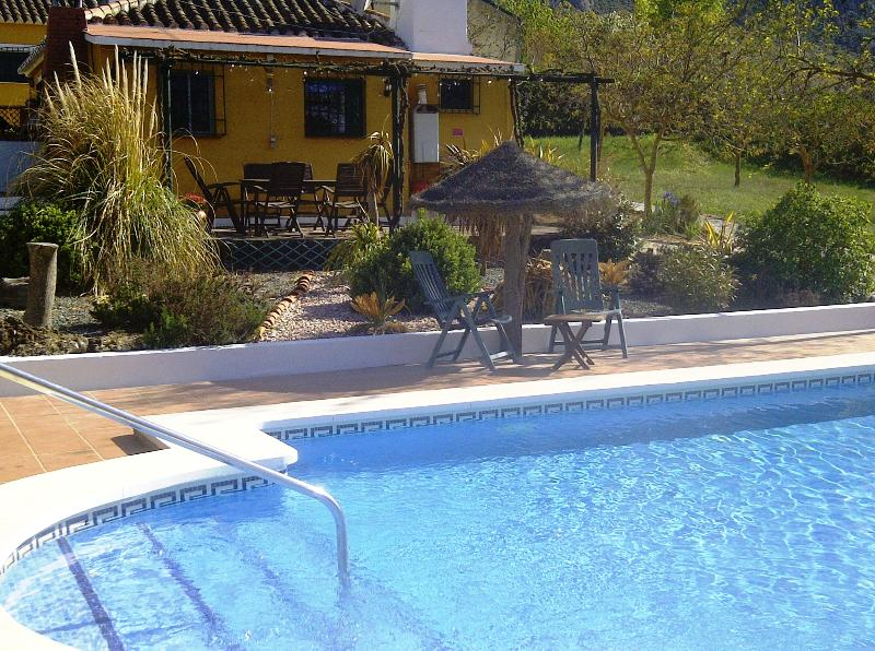 Stunning large heated pool by Casa Marguerita, sleeps 5, with dining/pergola overlooking the pool