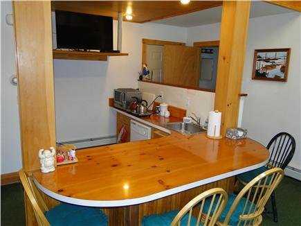 Closer view of Kitchenette ~ British Bar & big new LED TV.  Full cooking provisions & amenities