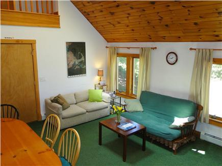 View of Great Room!  Open airy & cozy!!!  Vaulted beadboard ceilings!!!