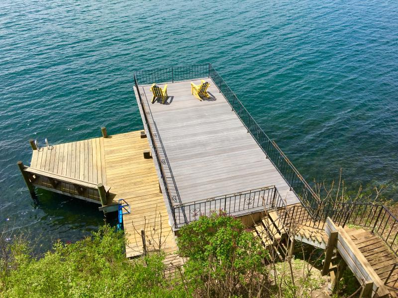 Picture of the dock and deck above the boat house