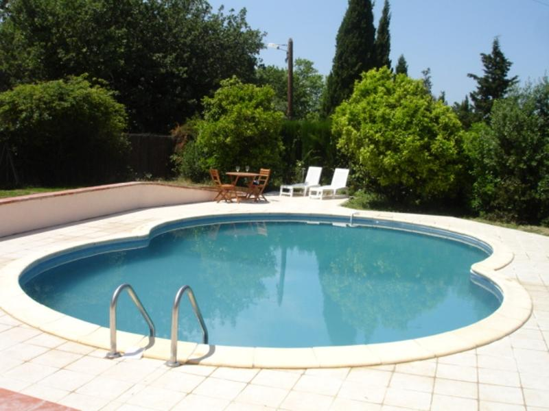 Cottage Garden pool (9m x 6m) - terrace with sunbeds and dining / BBQ.