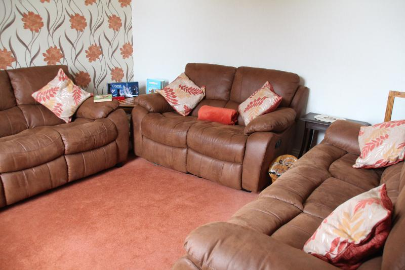 Living Room, comfortable seating for 8 .Smart Freeview TV with DVD player. Chess table and books.