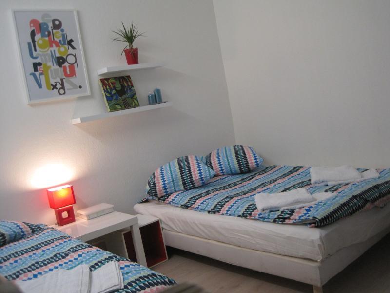 Chambre du milieu avec le lit double (140x190)  et le lit simple (90x190)