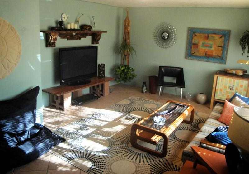 Complete with BIG screen TV, retro furnishings, original art and a queen size sleeper sofa too!