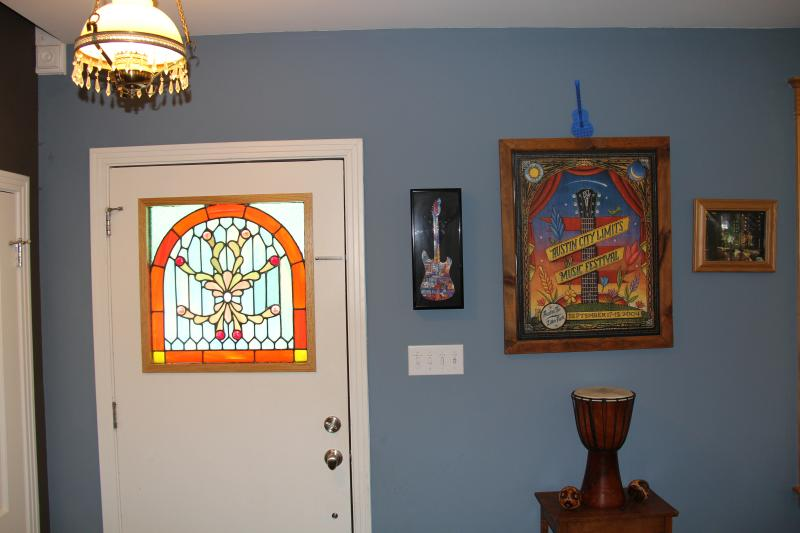 The front entrance, complete with stained glass and Austin City Limits art work