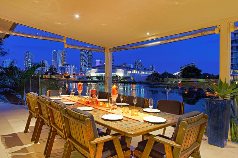 Waterfront views to the Broadbeach skyline, Jupiters Casino & the Convention Centre.