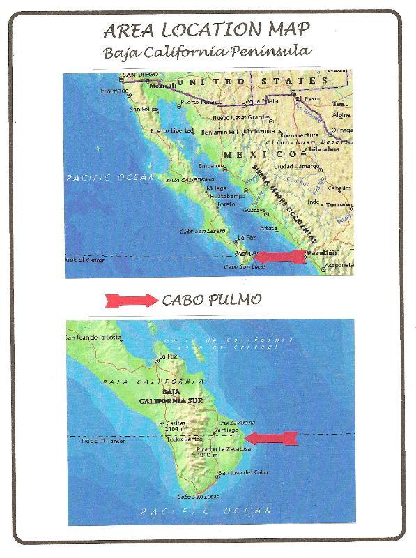 Baja Sur Mapa de ubicación del Cabo Pulmo
