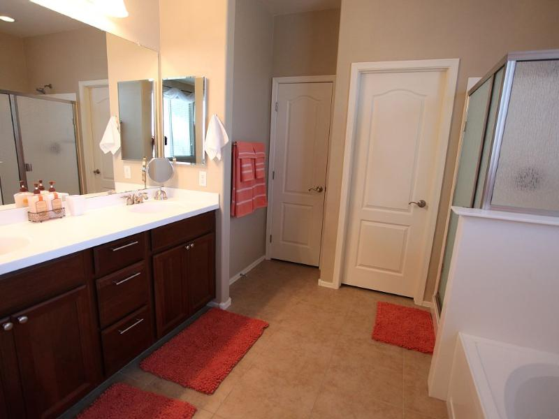 Master bath with double sinks, separate shower and tub