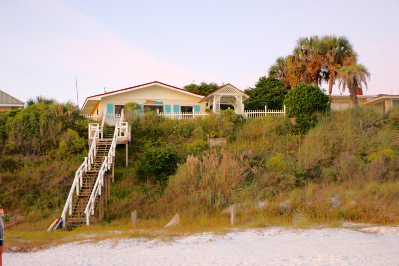 Beach Blessings is right on the beach with private access.