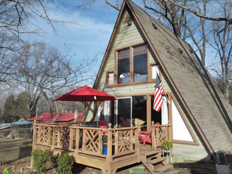 Our A frame home is a wonderful retreat by the lake