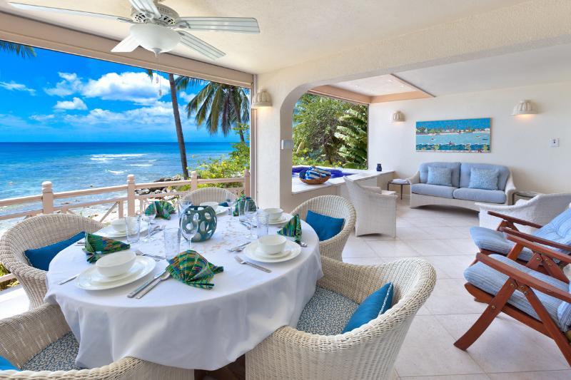 Seaside dining, spacious patio