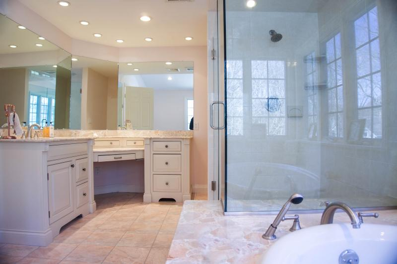 Master Bath- Luxurious extra large glass walk in shower with built in bench