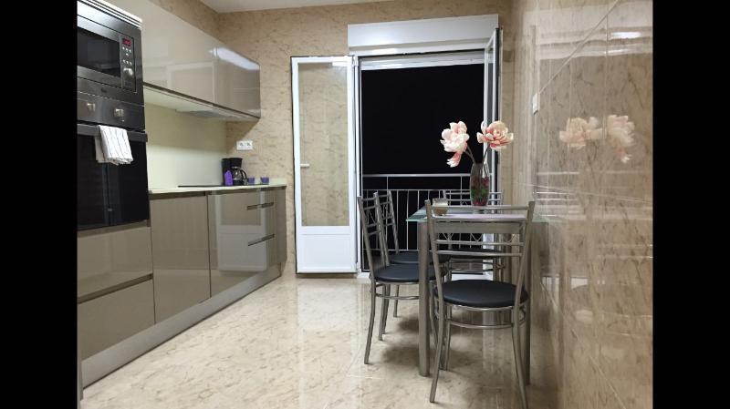 la cocina totalmente equipada con tostadora,cafetera,microondas,horno,vitroceramica,lavadora,etc.