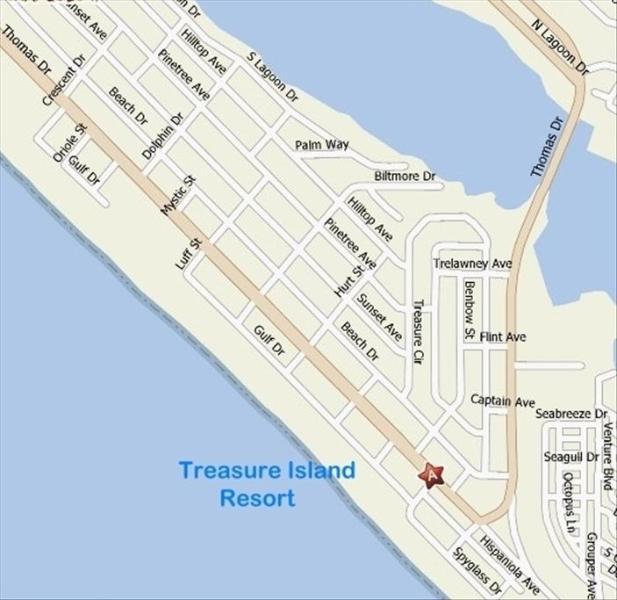 Map showing Treasure Island Resort