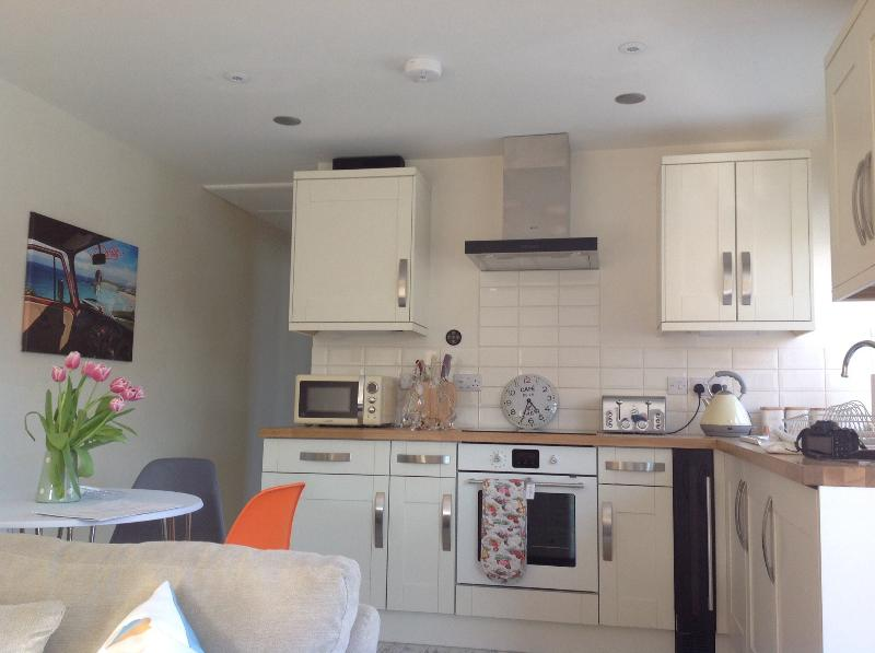 Kitchen /dining area with eames chairs, blue tooth sound system, wine cabinet ,induction hob, fan ov