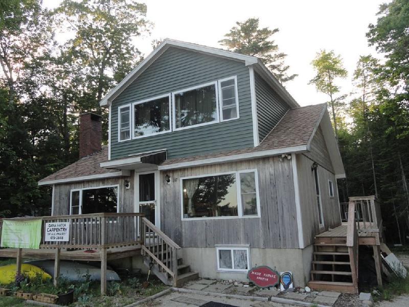Lake House Front View Dana Hatch - owner transformed/crafted sm 1 level camp into a 3 lvl home 2008
