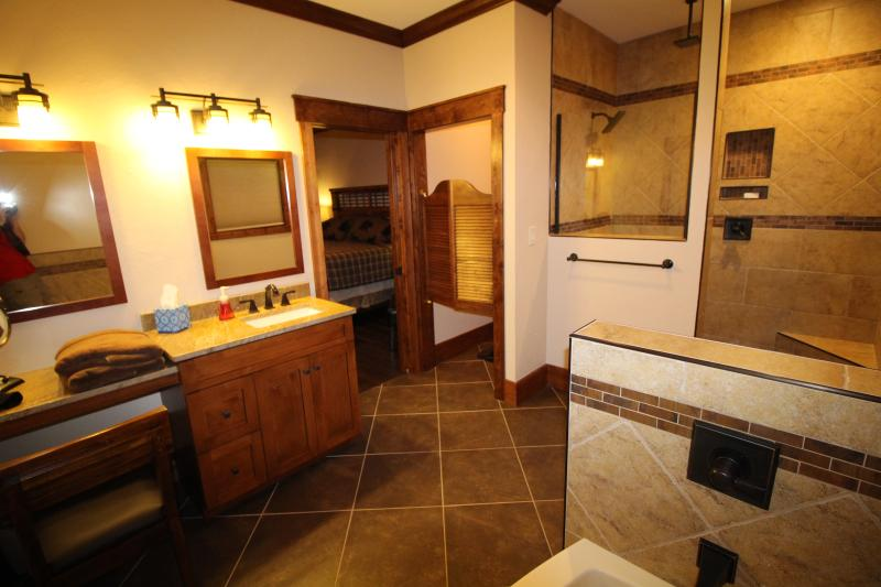 Master bathroom #4 with Walk in shower, tub, water closet, Vanity seat with lighted makeup mirror.