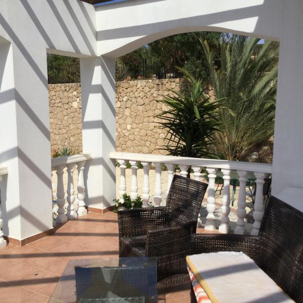 Shaded lower terrace