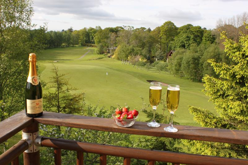 Greenside Lodge balcony overlooking the 16th Fairway and green. Magnificent views