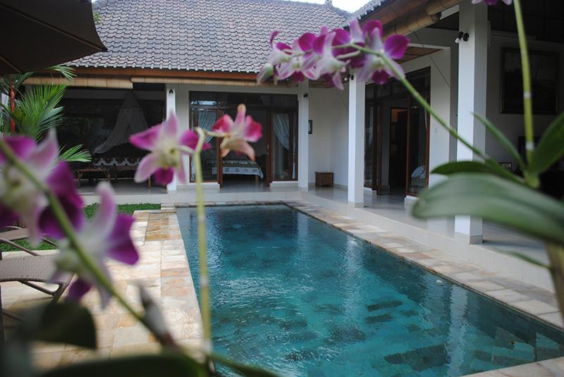 The pool is a central feature of this villa.