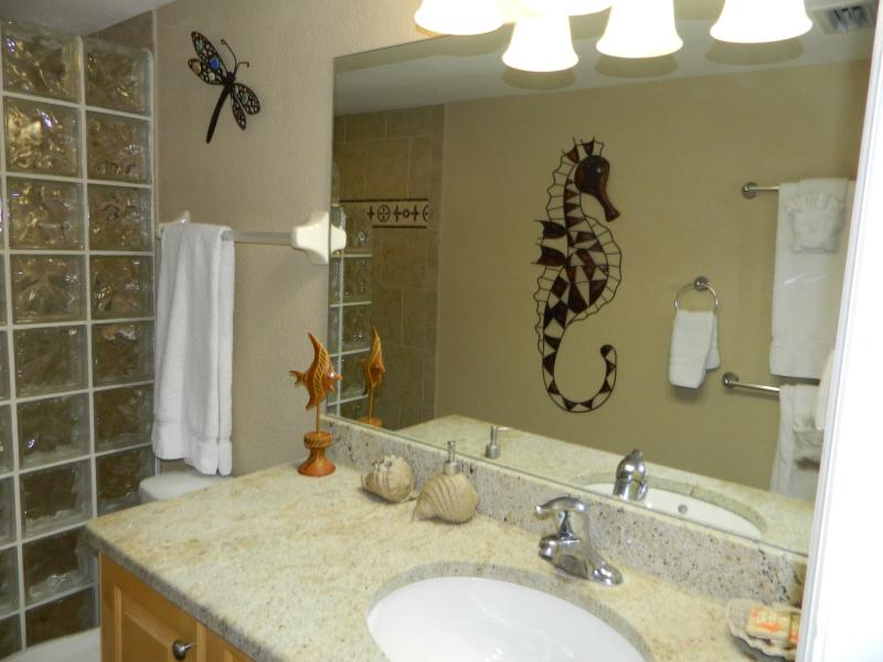 Master bath with granite counter top and large mirror.