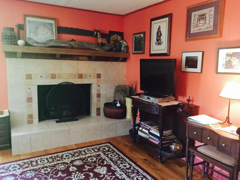 View of living room tv, gas log fireplace