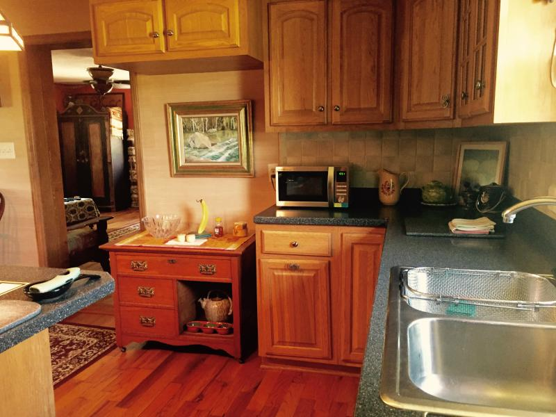 Stocked kitchen with microwave, toaster, convection oven, fridge, fully appointed kitchen