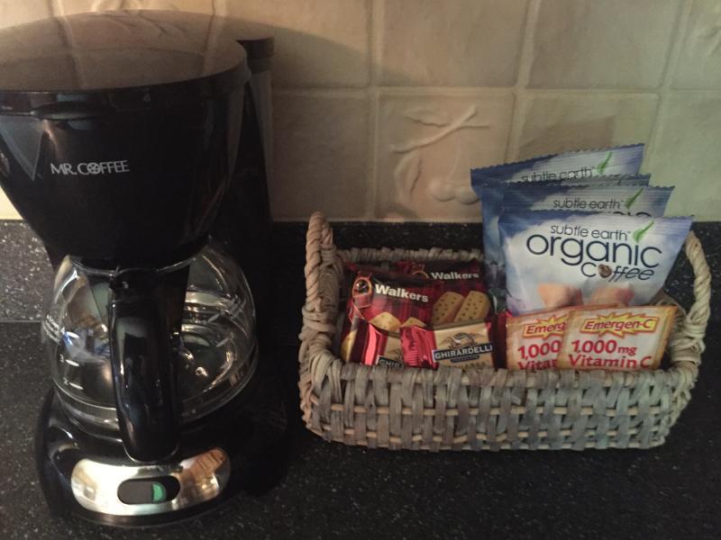 Organic coffee, snacks, creamers, sugar stocked