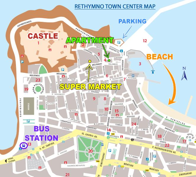 Map of Rethymno town center, displaying the apartment's convenient location