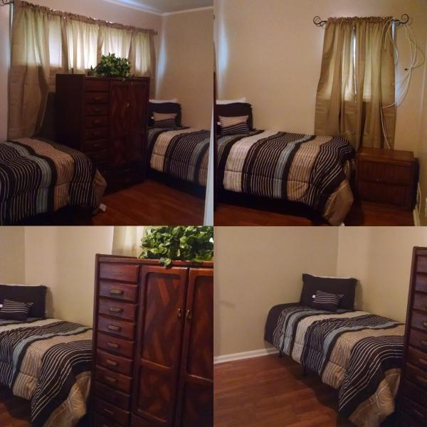 Shared room. 2 twin beds. Ceiling fan