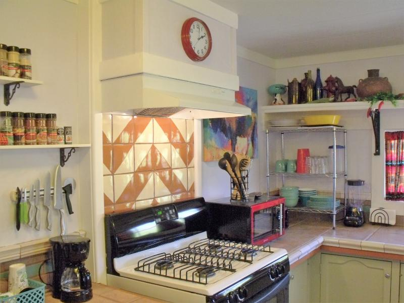 Complimentary coffee and coffee station in this fun and eclectic kitchen. We call it crazy southwest