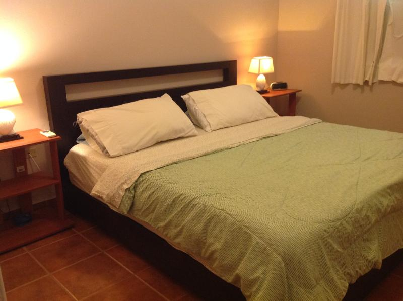 Master bedroom has king size bed, A/C and private bathroom.