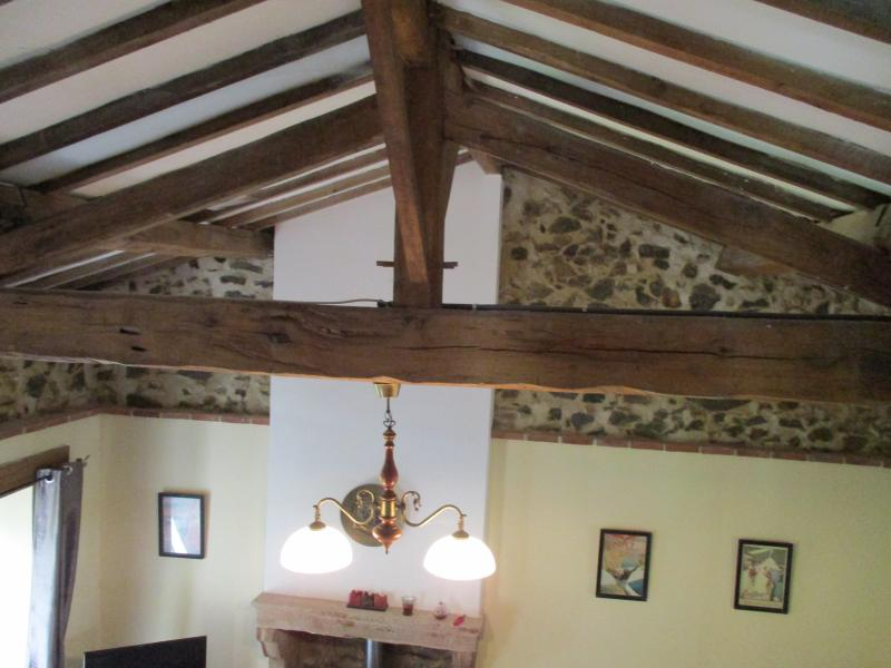 The vaulted ceiling in the lounge
