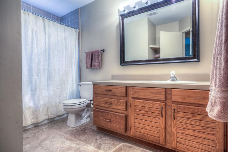 The guest bathroom offers tile flooring, a spacious vanity and a shower/tub combo.