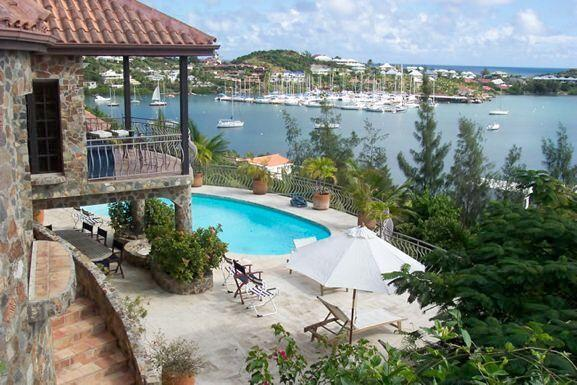 THE STONE HOUSE... 4 BR St Maarten rental villa overlooking Oyster Pond...walk to Dawn beach 800 480 8555