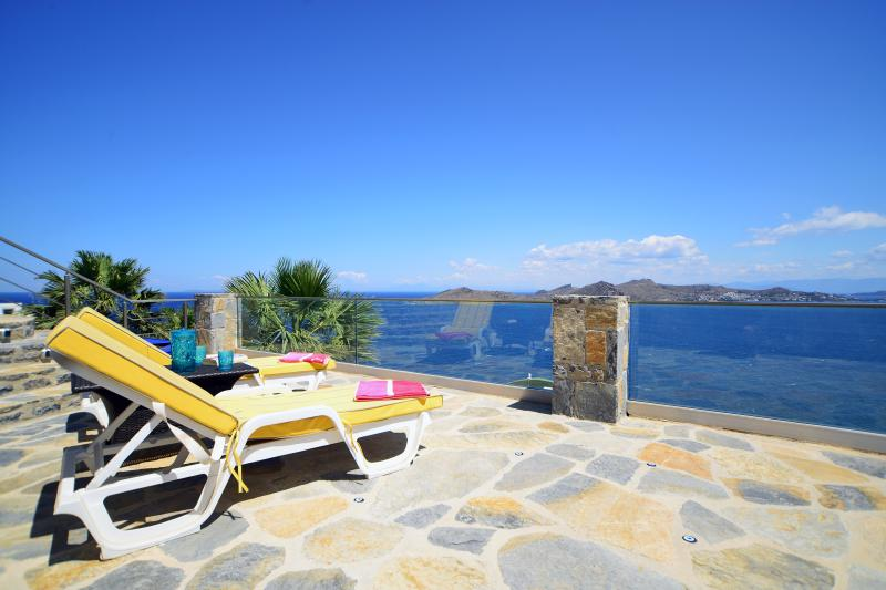 Fabulous open sea views from lower pool terrace, very private area of the villa's gardens