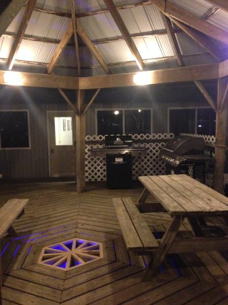 BBQ cabana at night