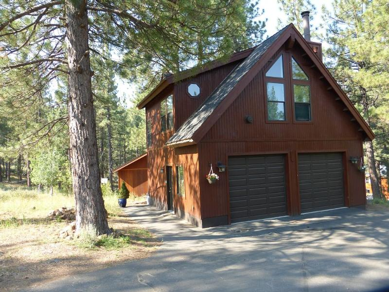 Our spacious private studio is the entire 2nd floor of this detached garage, 50' from the main house