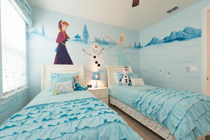 Bedroom8- 1 Frozen themed bedroom with 2 twin beds, 40in smart LCD TV