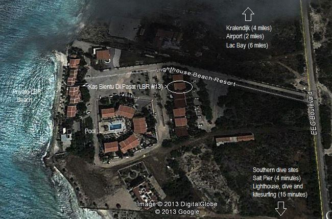 The aerial view of Lighthouse Beach Resort.  Just steps to the beach and pool.