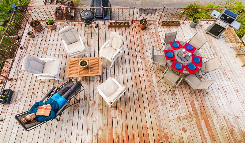 Bird's eye view of Niki on our HUGE deck