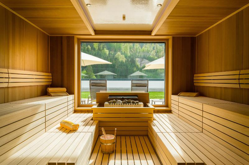 Look into the finn. Sauna with panoramic window