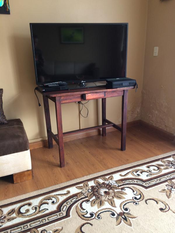 TV a schermo piatto con lettore DVD e cavo HDMI. Oltre 100 DVD tra cui scegliere.