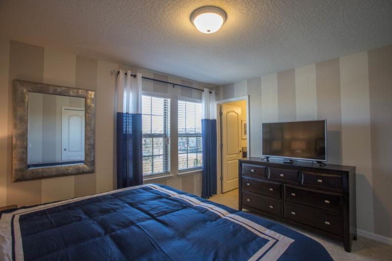 Cama, dormitorio, muebles, centro de entretenimiento, Interior